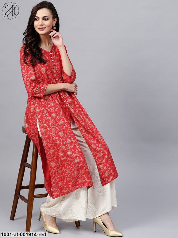 Red Gold Printed Kurta With White Skirt