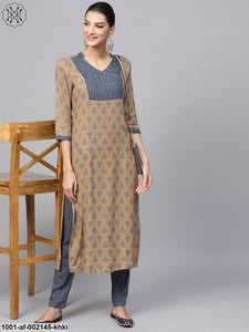 Khaki & Blue Printed Angrakha Style Kurta With Pant Set