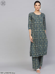 Blue & Green Printed Straight Kurta With Palazzo Set