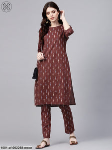 Maroon Ikat Printed Straight Kurta With Pant Set