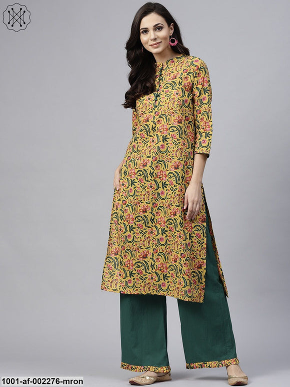 Mustard & Green Floral Printed Straight Kurta With Palazzo Set