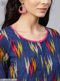 Navy Blue & Pink Ikat Printed Straight Kurta With Palazzo Set