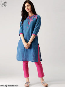 Blue & Pink Embroidered Straight Kurta