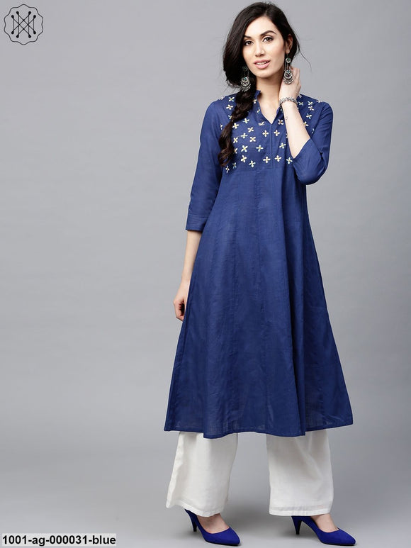 Blue Solid Anarkali With Embroidered Yoke Details