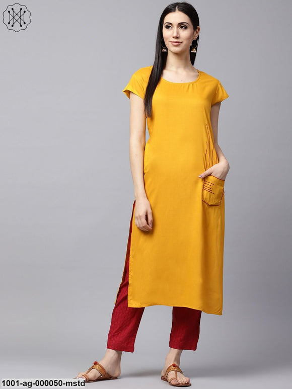 Mustard Solid Straight Kurta With Embroidered Details