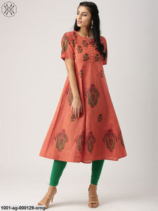 Orange & Red Hand Block Printed Anarkali
