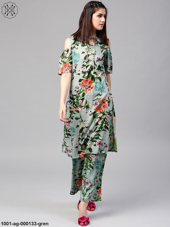 Green Floral Pastel Printed Cold Shoulder Kurta