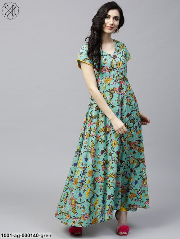 Green & Yellow Floral Printed Flared Anarkali