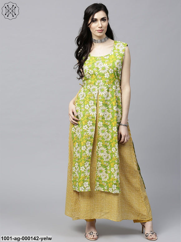 Yellow & Green Floral Printed Double Layered Kurta