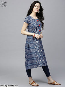 Blue Printed A-Line Kurta With Tassel Details