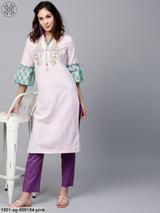 Pink Printed Kurta With Embroidered Yoke Details