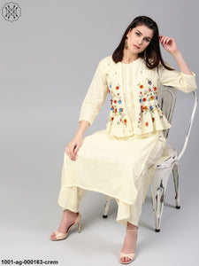 Cream Solid Kurta With 3-D Embroidered Jacket