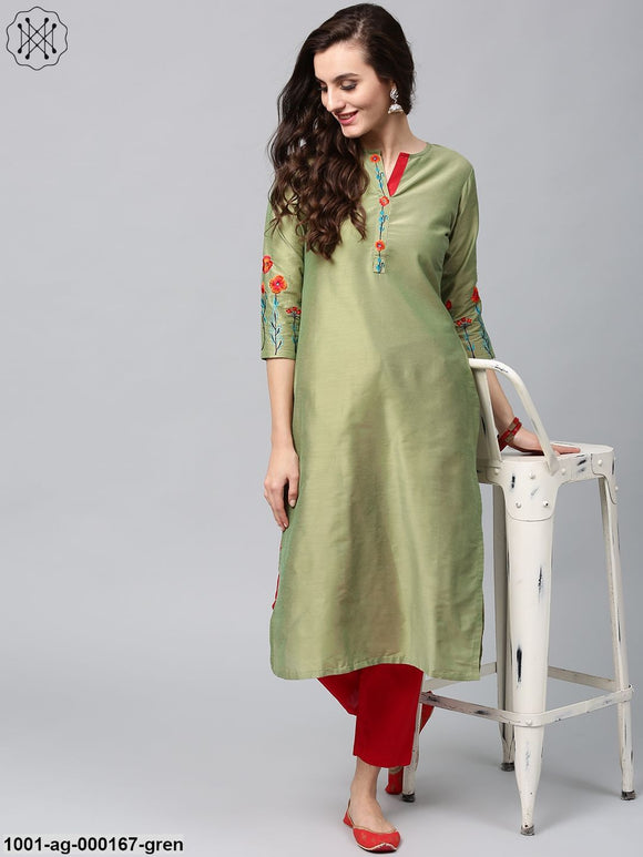 Peridot Green Cotton Silk Embroidered Kurta