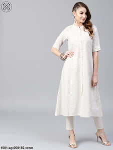 Cream & Gold Printed A-Line Kurta