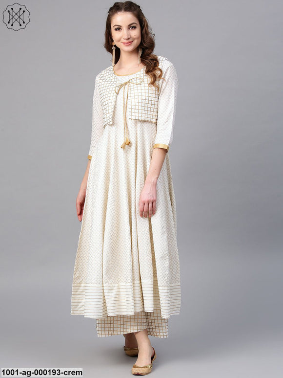 Cream & Gold Printed Flared Anarkali With Coat