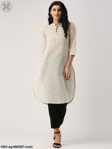 Cream Solid Straight Kurta