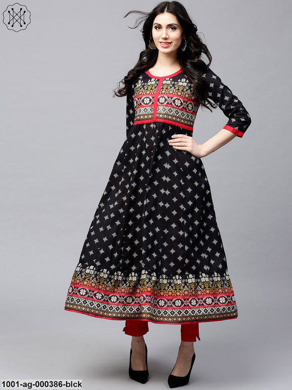 Black & White Printed Anarkali