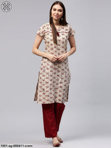 Cream & Maroon Printed Straight Kurta