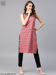 Pink & Black Printed Sleeveless Kurta With Neck Design