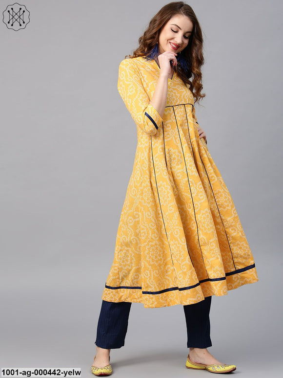 Yellow Bandhani Printed Anarkali With Blue Pipping Details