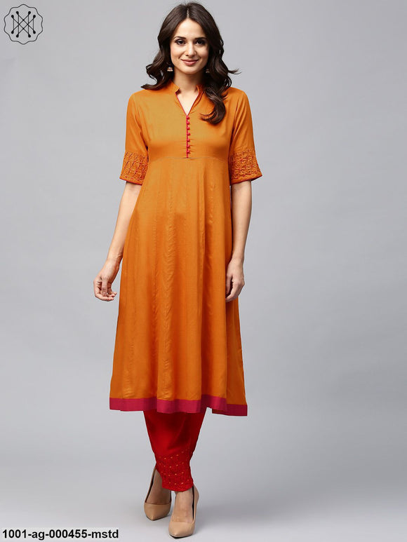 Mustard Solid Anarkali With Smoking Details At Sleeve