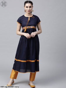 Navy Blue Dobby Woven A-Line Kurta With Embroidered Details