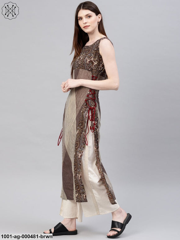 Brown Bohemian Printed Sleeveless Kurta With Side Tie-Up Details