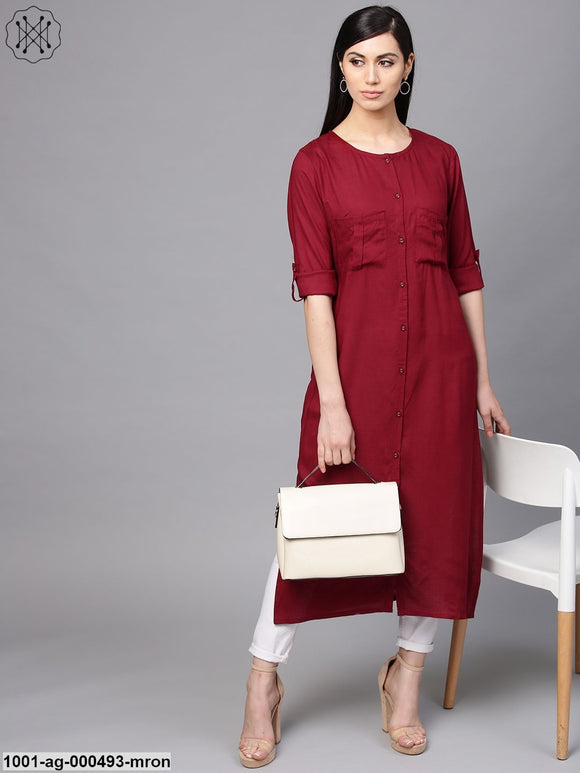 Maroon Solid Straight Kurta With Front Pockets Details