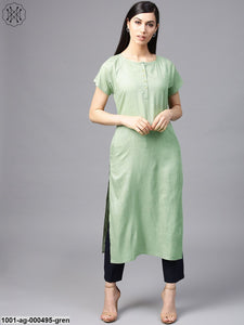 Pista Green Solid Straight Kurta With Raglan Sleeve