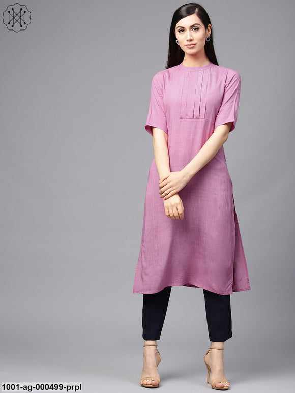 Purple Solid Straight Kurta With Pleated Yoke Design