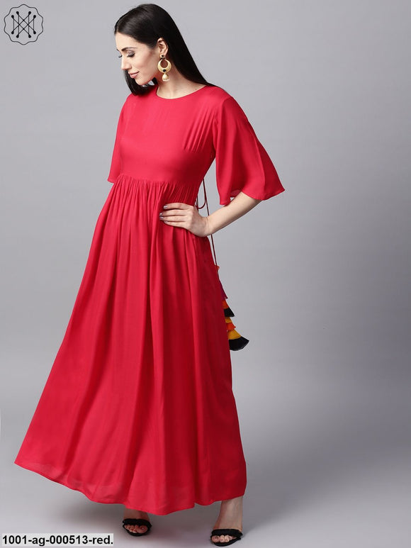 Red Solid Flared Pleated Anarkali