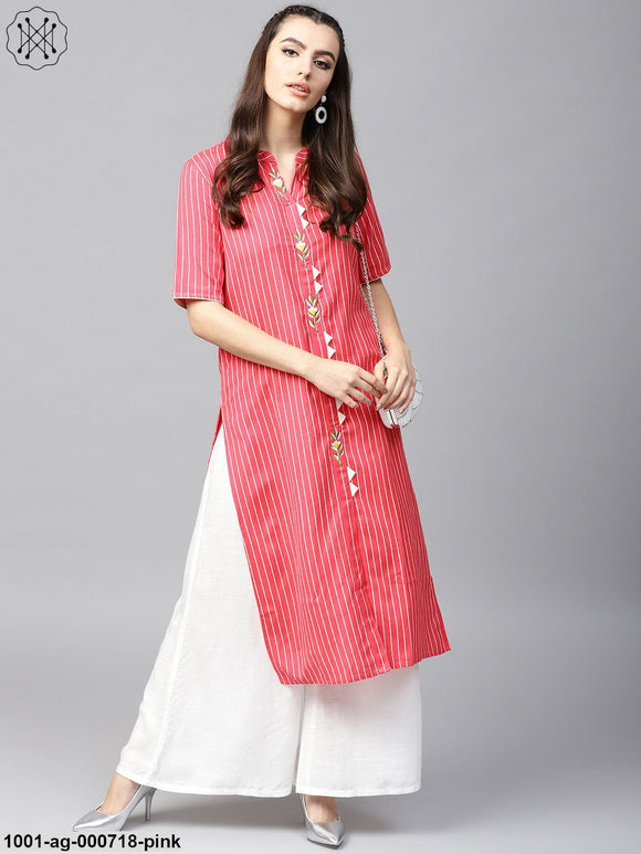 Pink & White Striped Straight Kurta With Embroidery