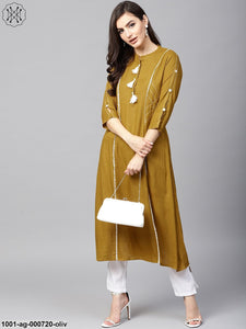 Olive Solid A-Line Kurta With Tassel Details