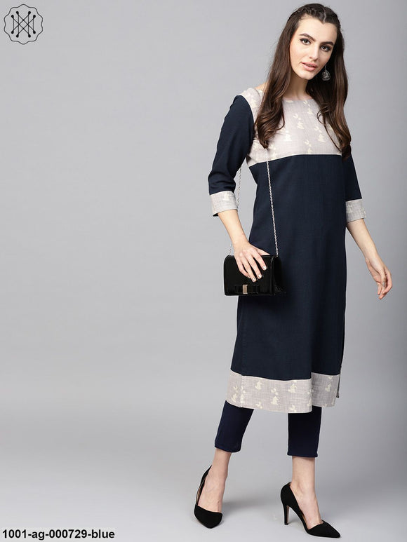 Blue Solid Straight Kurta With Printed Yoke & Hemline
