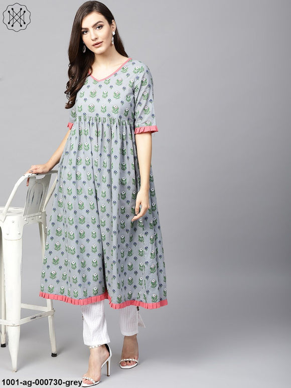 Grey Floral Printed Pleated Kurta