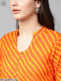 Orange & Yellow Leheriya Printed Straight Kurta With Lace Details