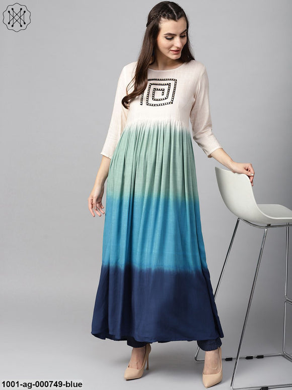 Blue Ombre Print Pleated Kurta With Embroidered Yoke