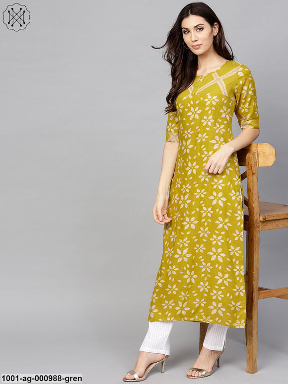 Green & Beige Printed Long Straight Kurta