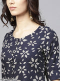 Navy Blue & Beige Printed Straight Kurta