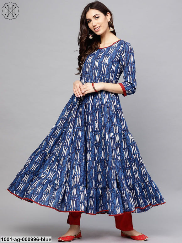 Blue & White Printed Tiered Anarkali