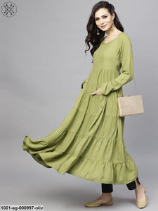 Olive Solid Tiered Anarkali With Pocket Details