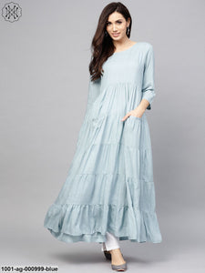 Pale Blue Solid Tiered Anarkali With Pocket Details