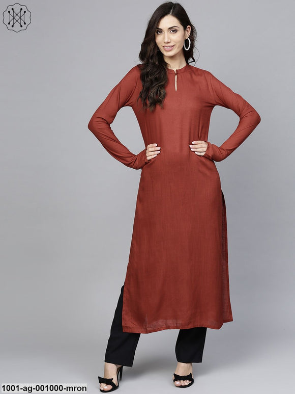 Maroon Solid Straight Kurta With Full Sleeve