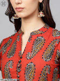Green & Maroon Printed Flared Anarkali