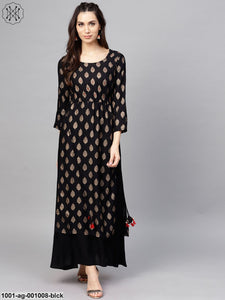 Black Gold Printed Double Layered Long Kurta