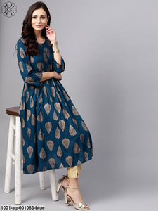 Blue Gold Printed Pleated Kurta