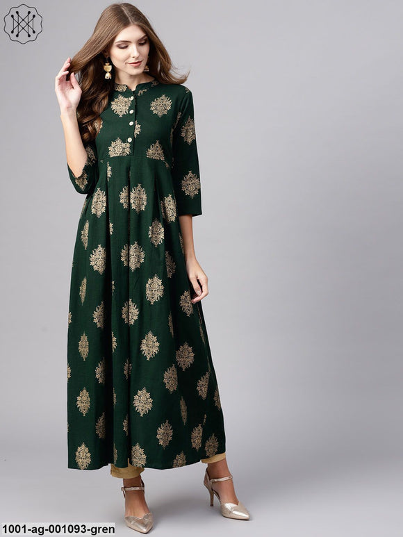 Green Gold Printed Pleated Kurta