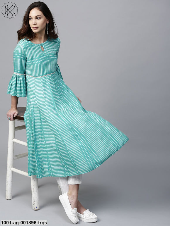 Turquoise Blue Printed Pleated Kurta With Ladder Lace Details