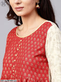White & Red Gold Printed Straight Kurta