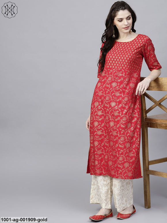 Red Gold Printed Straight Kurta